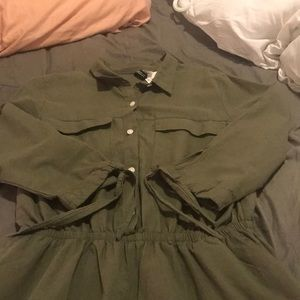 Olive Green Romper with Pockets